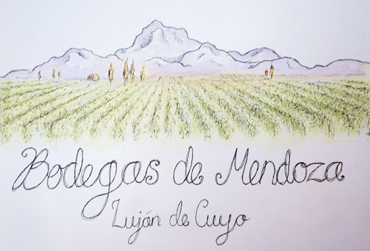 painting artwork mendoza vineyards argentina