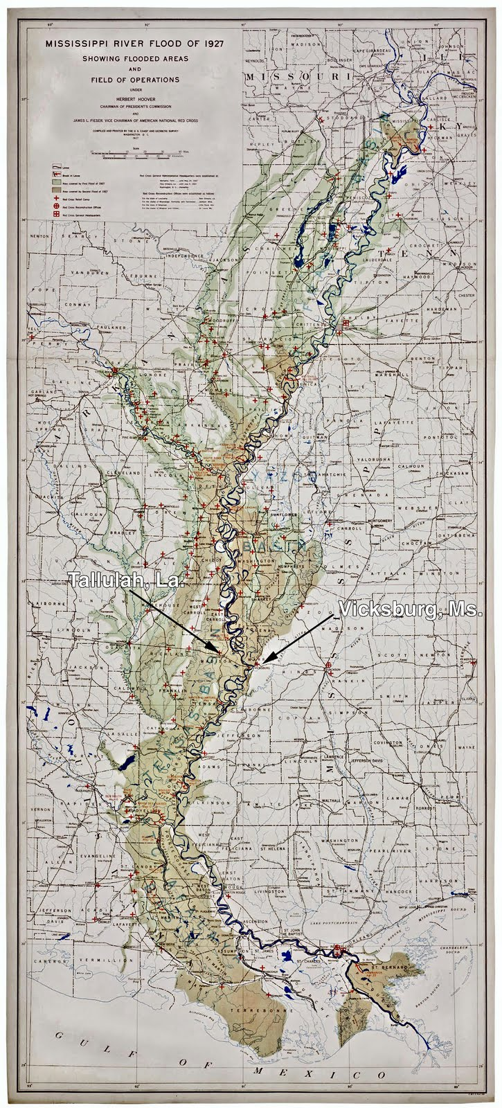 Oil Electric Vicksburg Shreveport Louisiana Railroad Flooded 1927 Buick Wiring Diagram Zone Of The Great Flood Followed By A Second Crest Lighter Green Also In Click On Map When Open Magnifying Glass Symbol