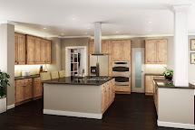 Natural Hickory Floors with White Kitchen Cabinets