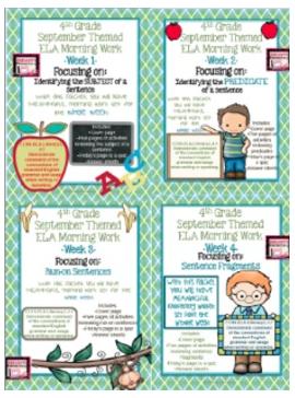 http://www.teacherspayteachers.com/Product/4th-Grade-ELA-Morning-WorkBell-Work-WHOLE-month-September-Themed-Worksheets-1267588