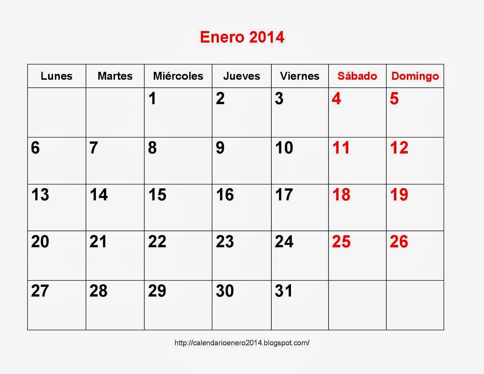Plantillas Calendario Enero 2014 imprimible - Calendario Para ...