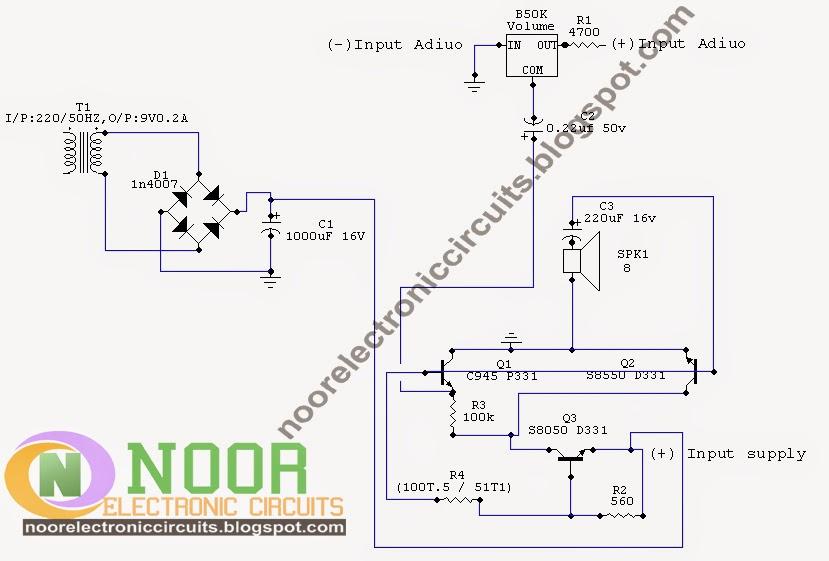 noor electronic circuits three transistor audio amplifier rh noorelectroniccircuits blogspot com Simple Transistor Audio Amplifier Audio Transistor Power Amplifier