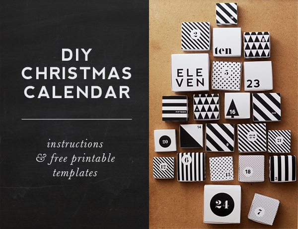Free printable advent calendar - I know Christmas is full or reds & greens, but is it wrong to love Black & White? :)
