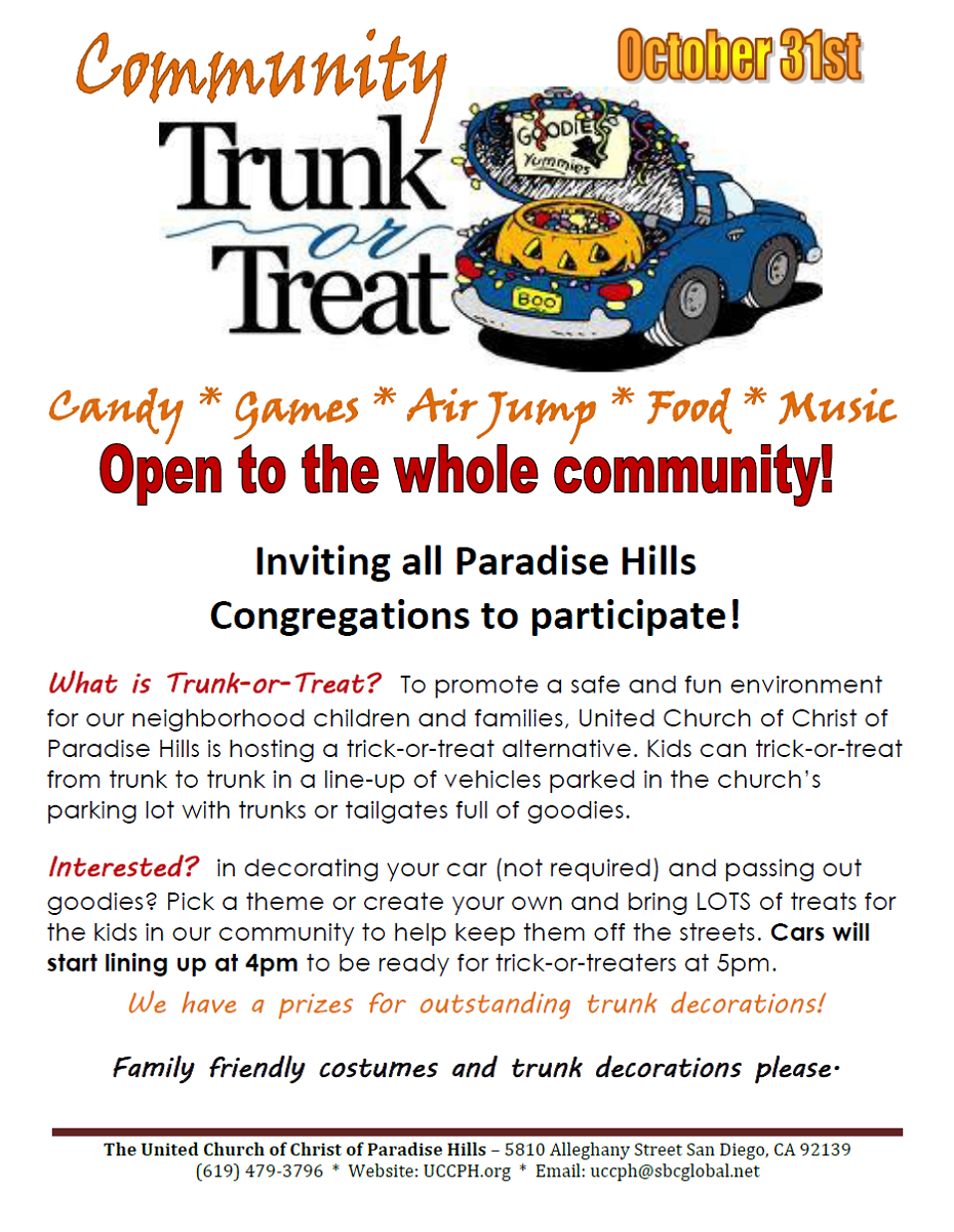 UCCPH Newsletter: Halloween 2012: Trunk or Treat Event!