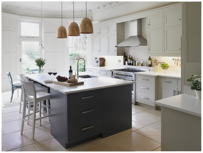 Exceptional Slate Gray And Off White Transitional Kitchen