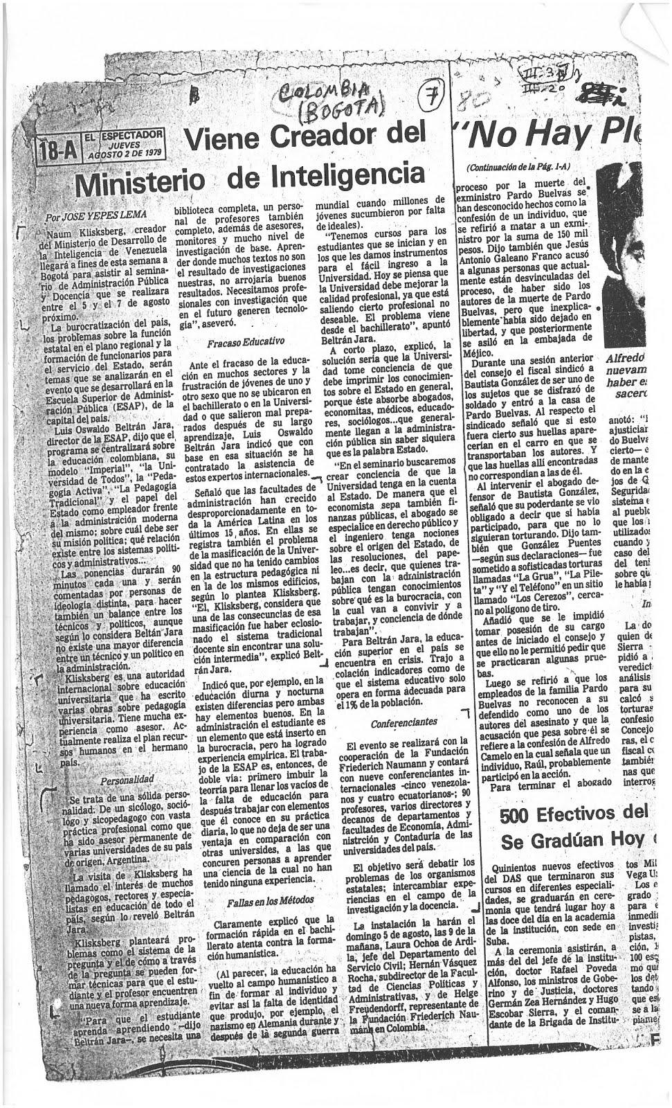 16 - Periódico de Colombia El Espectador. 02/08/1979. En ocasión de