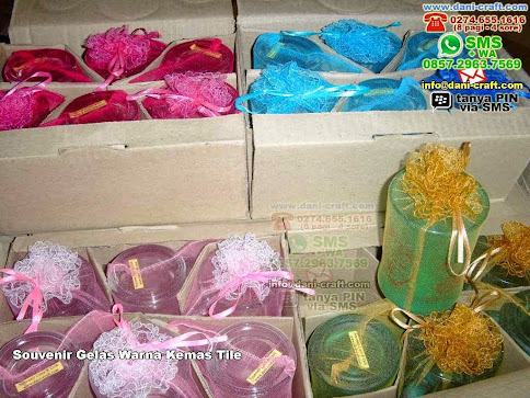 Souvenir Gelas Warna Kemas Tile Gelas Beling Mataram NTB