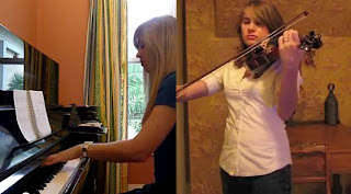 Lara and Taylor play the Morrowind/Skyrim theme Medley - Piano and Violin