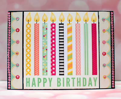 Simple birthday card using BoBunny You're Invited by Ilene Tell 2