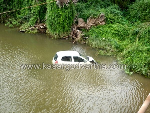 Close shave for couple as car falls off bridge at Pangala, car fell off a bridge, Pangala, Driver lost control, Couple in the car, narrowly escaped, Minor injuries, plunged straight,hospital for examination.