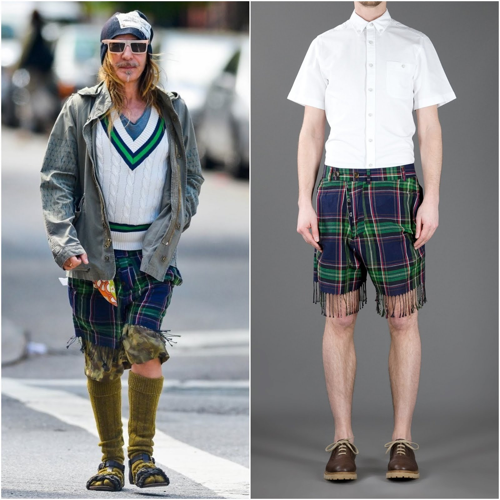 00O00 Menswear Blog - Grace Coddington with John Galliano in New York. John Galliano wore Vivienne Westwood blue plaid checked tasselled shorts, May 2013