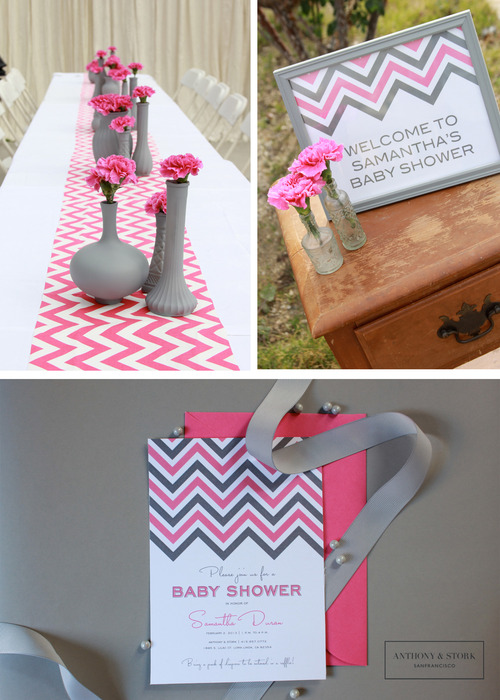 Mom mart baby shower decoration ideas - Baby shower chevron decorations ...