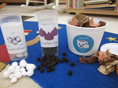 The Pa-Paw Patch, winter preschool theme, hot chocolate, hot chocolate sensory tub, sensory tub