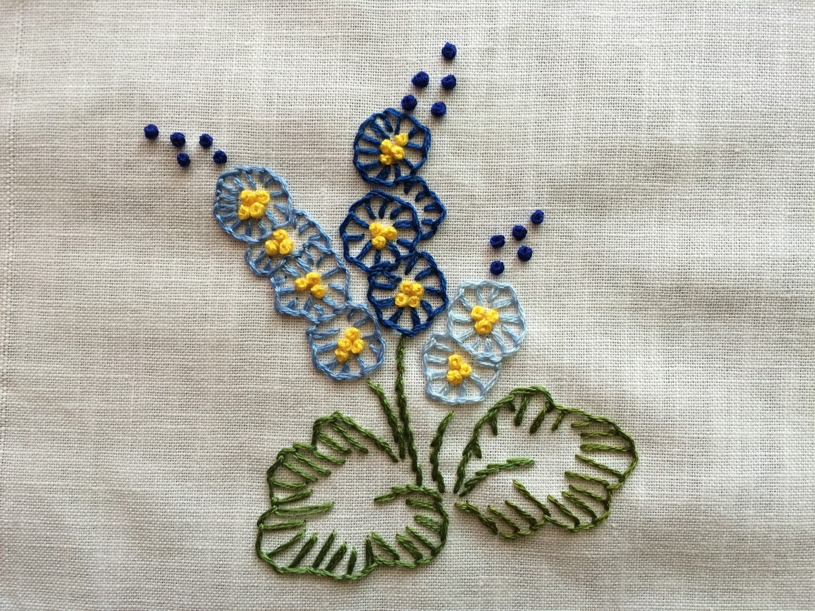 Mooshiestitch blanket buttonhole stitch flowers