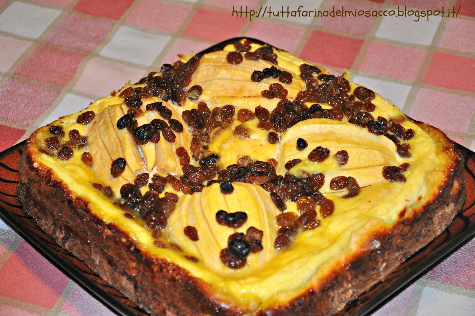 Ricetta torta ricotta mele uvetta