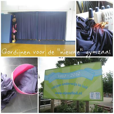 Gordijnen op maat gemaakkt voor de nieuwe gymzaal van school
