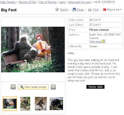 Bigfoot yeti with Ronald McDonald