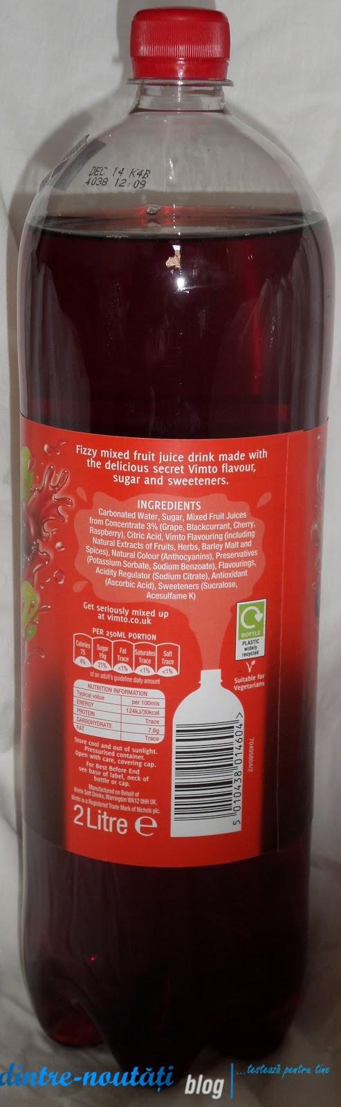 Băutură răcoritoare carbogazoasă preparată cu delicioasa aromă secretă Vimto cirese