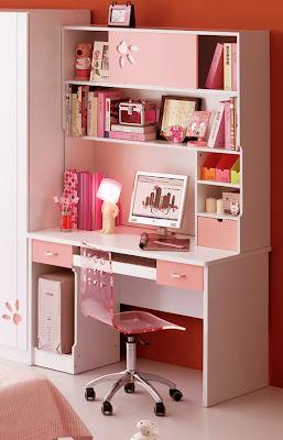 Diy Home Decor Pink White Computer Study Desk