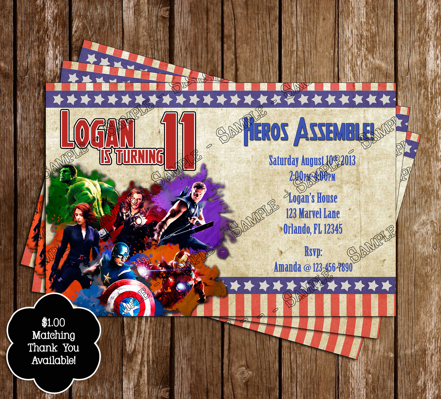 Novel Concept Designs Avengers Birthday Invitation and Thank You