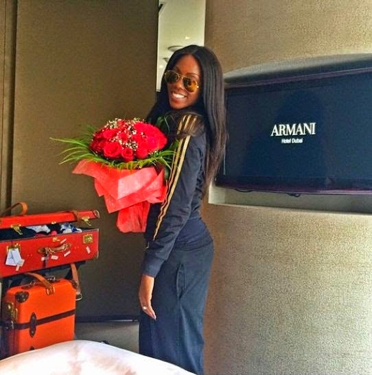 Touchdown.... Tiwa Savage Arrives Dubai For Her Wedding