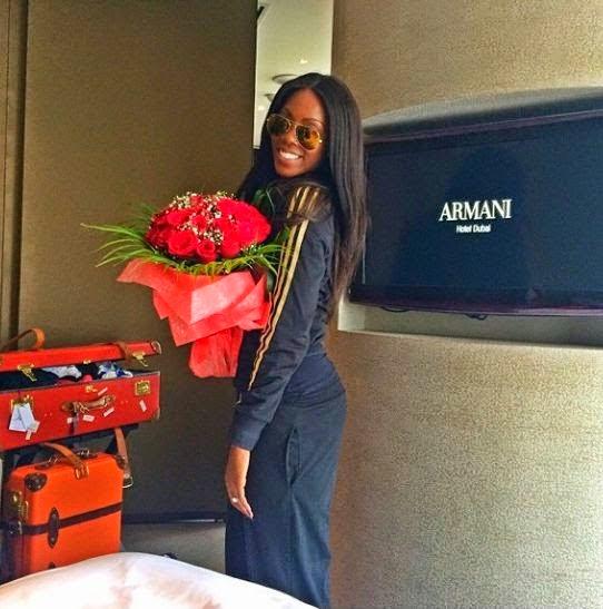Touchdown.... Tiwa Savage Arrives Dubai For Her Wedding