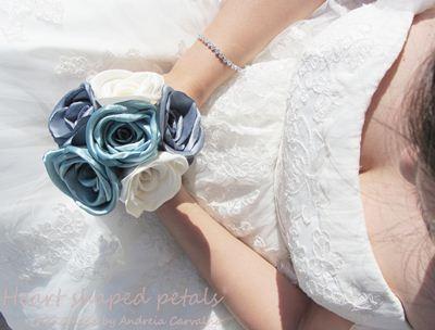 Blue fabric bouquet toss