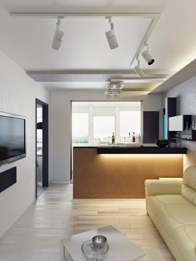 sala de estar con cocina abierta colores en casa