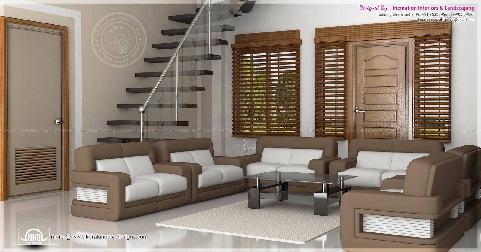 3d interiors by increation interiors kerala home design for Kerala house living room interior design