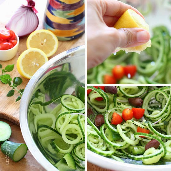 Spiralized Greek Cucumber Salad with Lemon and Feta Spiralized-Greek-cucumber-feta-salad