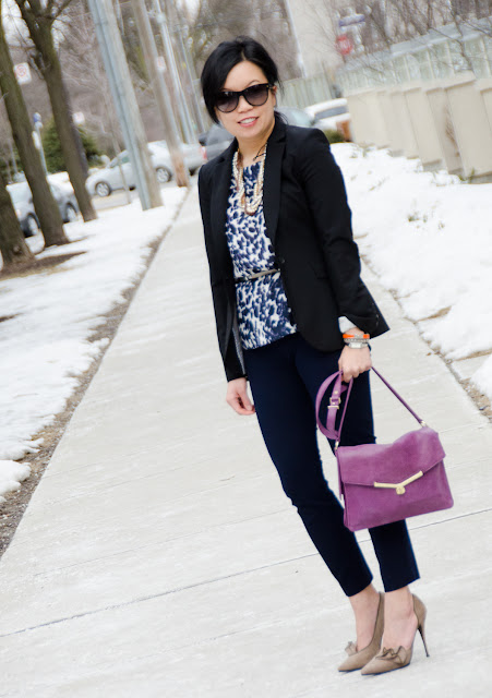fitted blazer, Banana Republic, statement necklace, Elizabeth and James shoes, cropped pants, J.Crew Minnie, Botkier Valentina