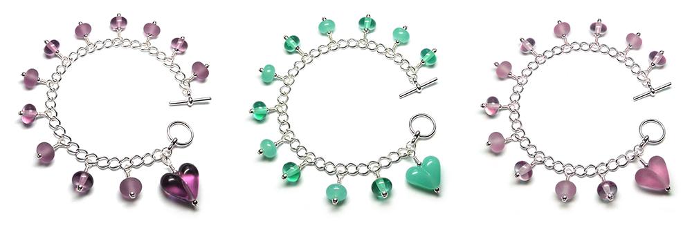 Lampwork glass bead bracelets