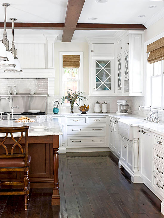 white kitchen wood accents