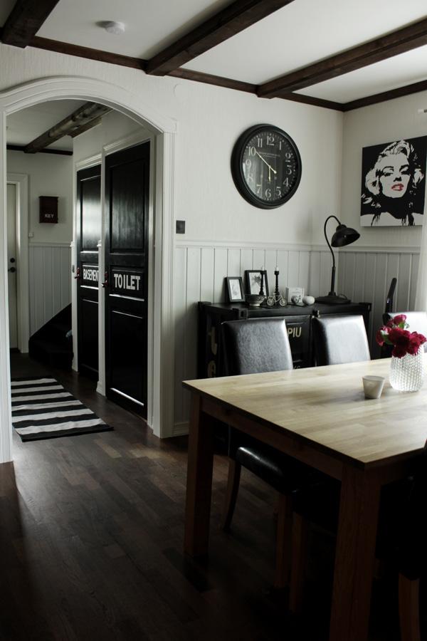 kök i svart och vitt, inredning i svart och vitt, svarta och vita detaljer, svartvit randig matta, tavlor i köket, plåtskåp i köket, stor klocka i köket, träbord, mörk parkett i köket