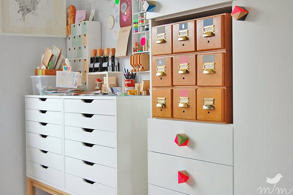 Ikea Alex drawers, raised and vintage library card storage in the craft room with custom painted wooden block door knobs - Fabric and ribbon storage that would be suitable for a craft room or sewing room.  #craftroom #craftstorage #storage #craftsupplies