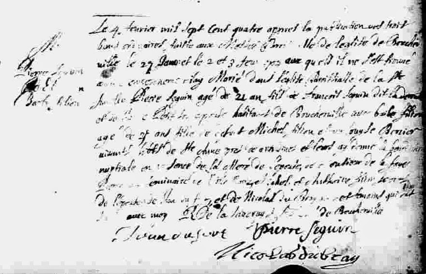 Marriage record of Pierre Seguin and Barbe Filion