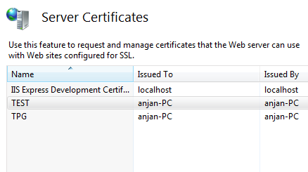 Server Certificates in IIS 7