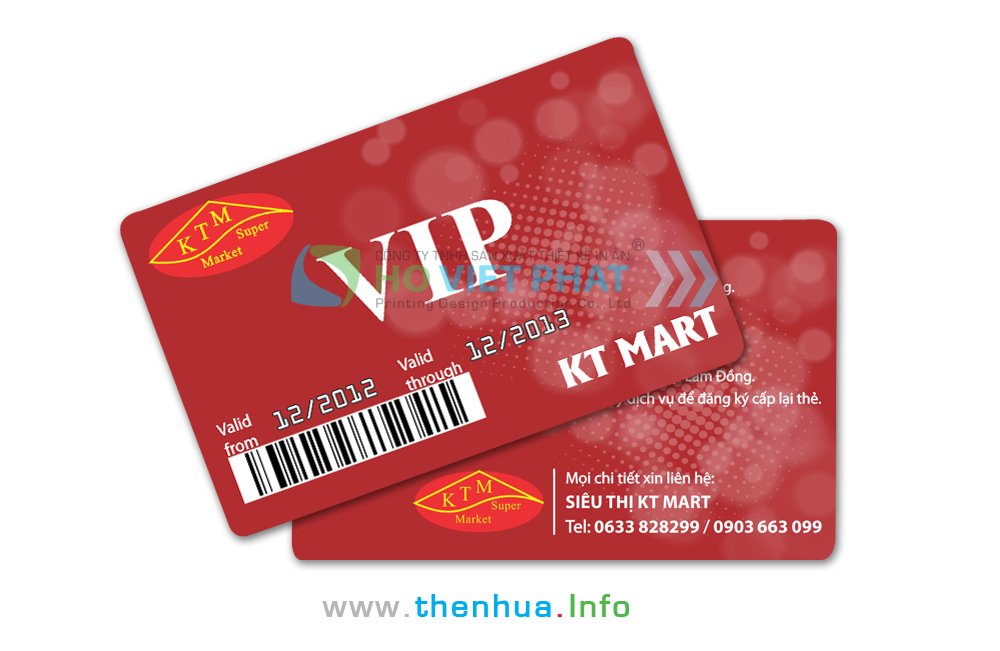 VIP Card Khách Hàng Thành Viên Của Siêu Thị Có In Mã Vạch, Dập Nổi