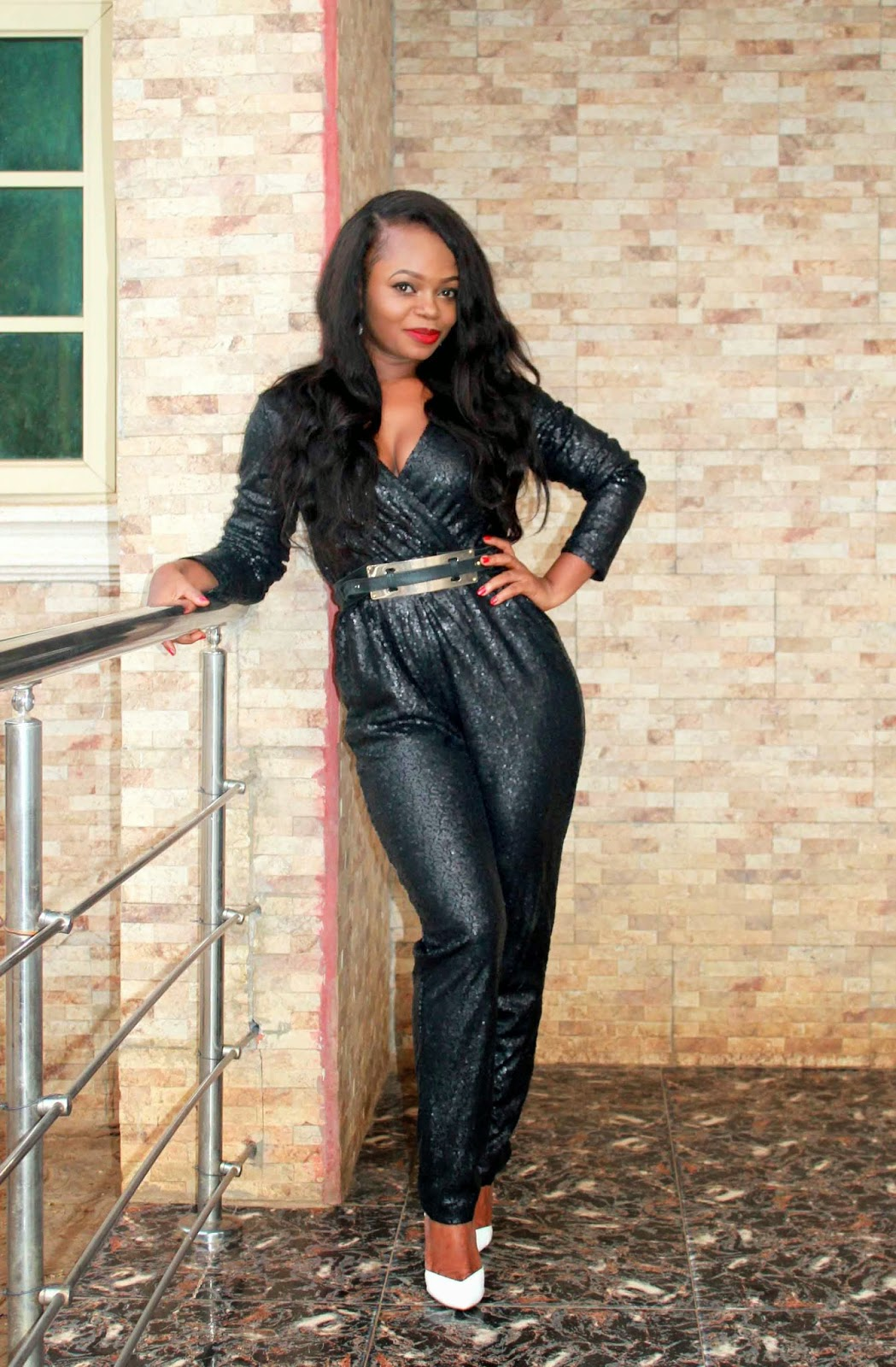black sequin jumpsuit ft with belt
