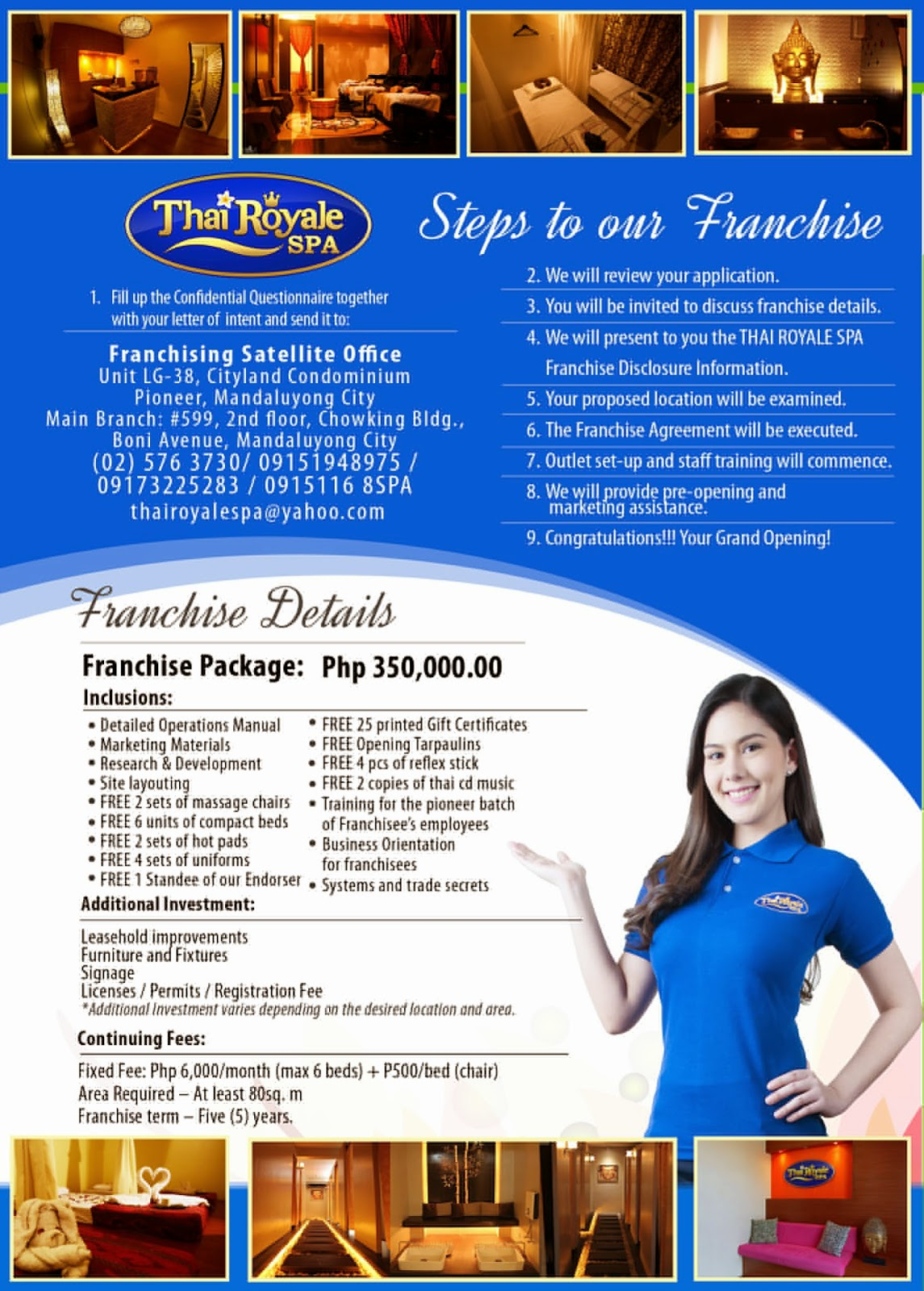 Thai royale spa an affordable massage and spa franchise for Spa uniform in the philippines