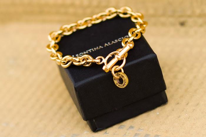 Pulsera de cadena en bronce bañado en oro de Leontina Alascio