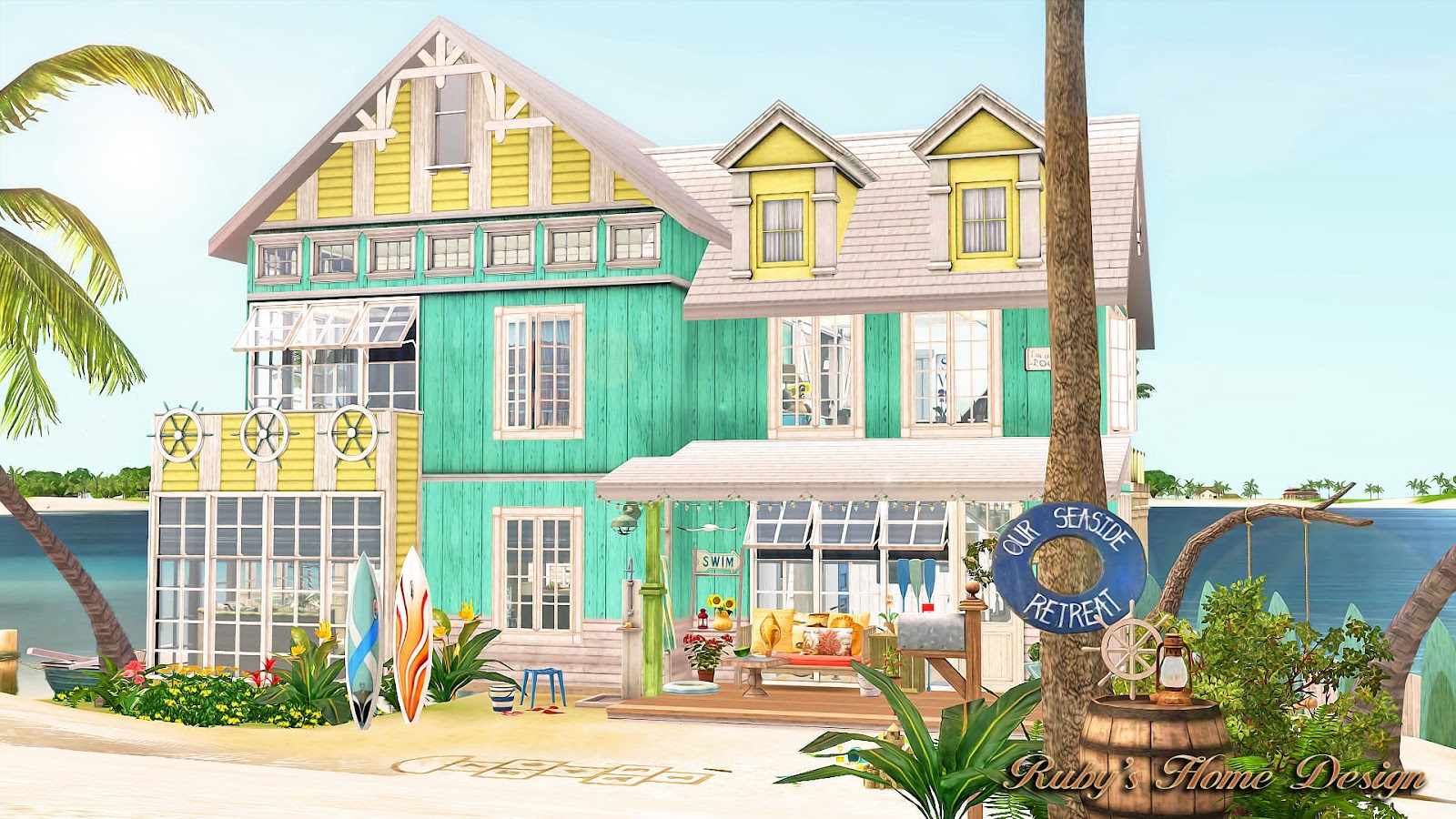 Sims3 sea retreat ruby 39 s home design for Beach house plans sims 3
