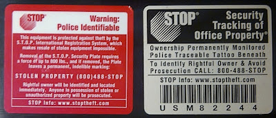 Anti-theft plaques for laptops