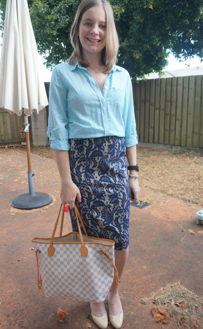 stripe shirt blue lace pencil skirt nude heels LV neverfull bag Office Style Brisbane Business Casual