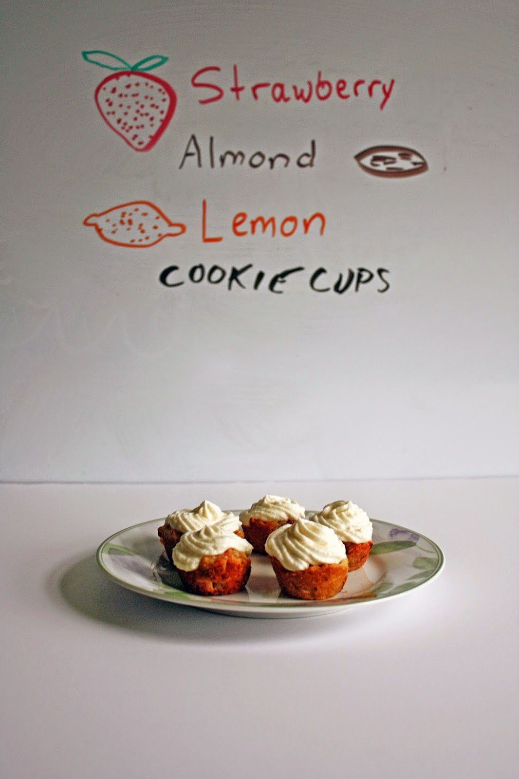 strawberry almond lemon cookie cups buttercream