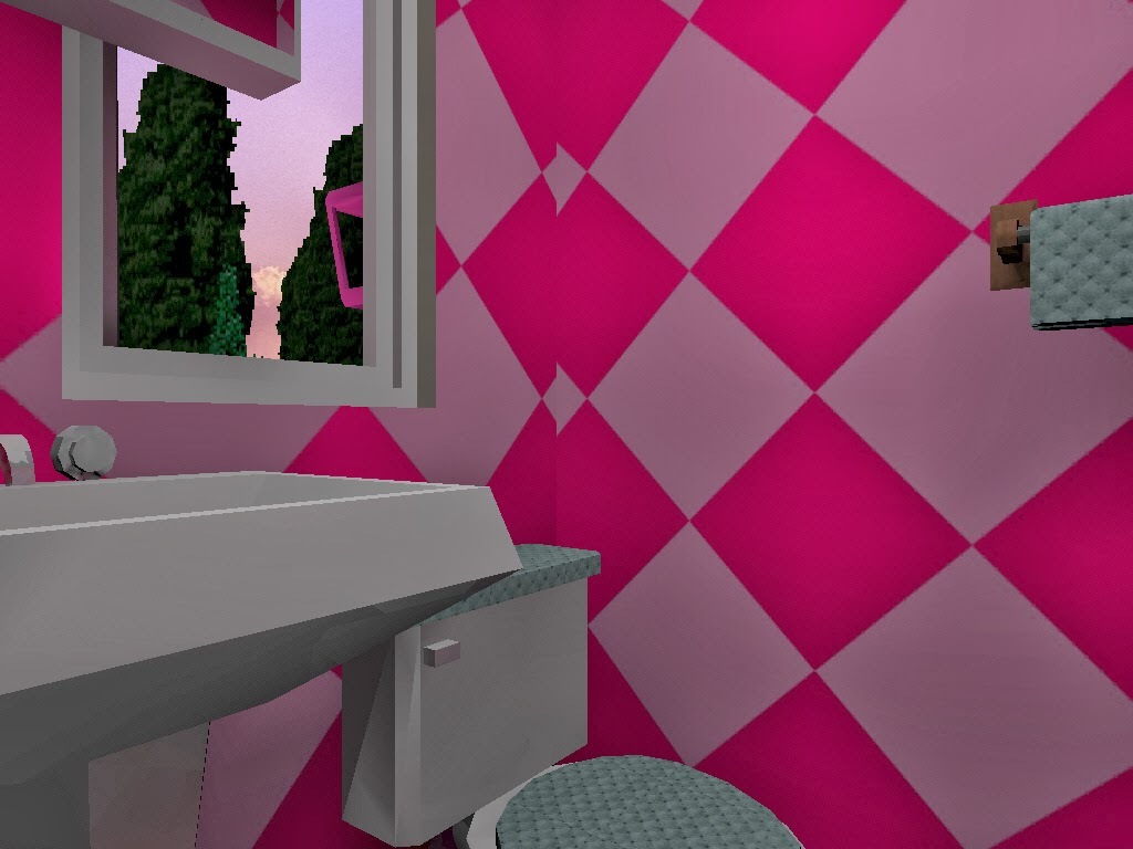 real barbie dream house castle, pink restroom