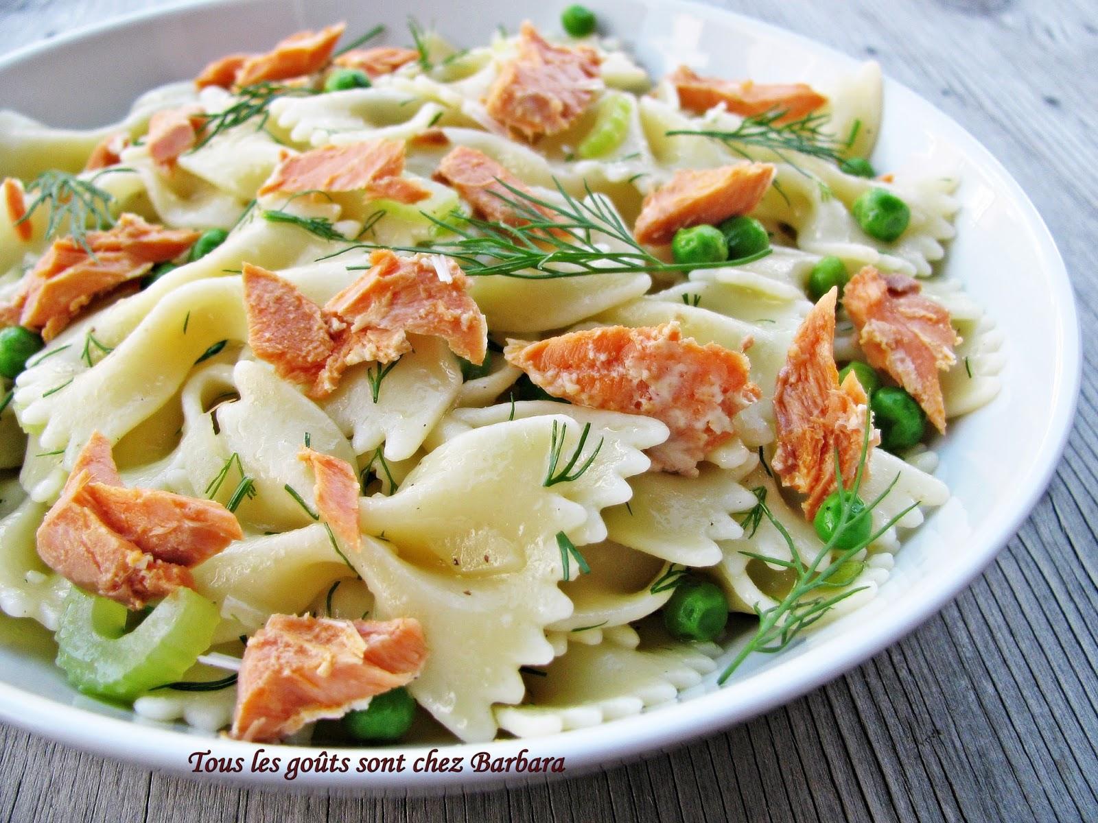 tous les go 251 ts sont chez barbara salade de p 226 tes au saumon sockeye et 224 l aneth