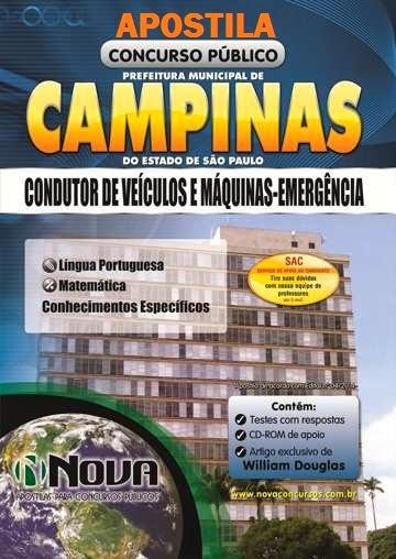 Apostila para Concurso da Prefeitura de Campinas Edital 2014 cargo Condutor de Veículos e Máquinas - Emergência