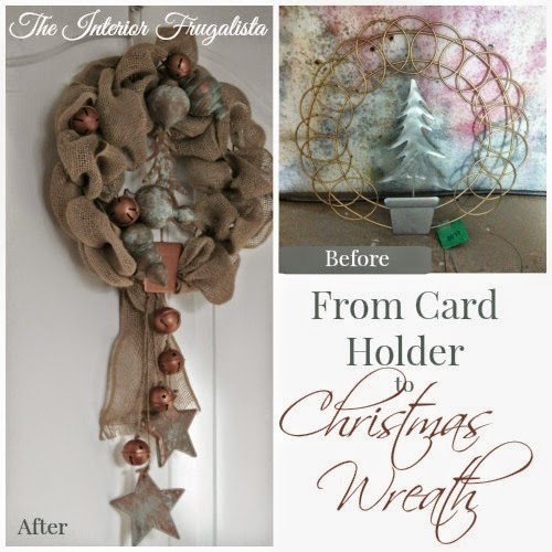 Metal Christmas Card Holder Before transformed into a Rustic Burlap Wreath