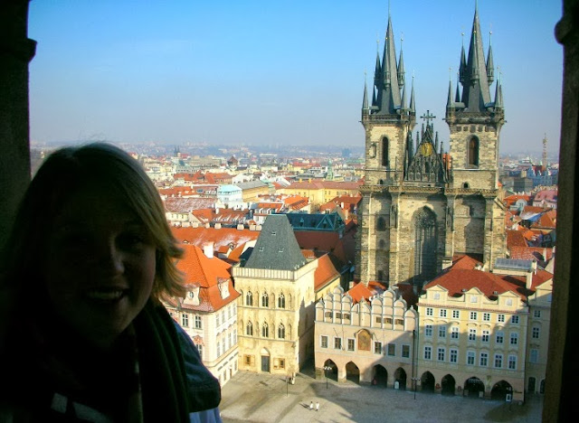 at the clock tower in prague